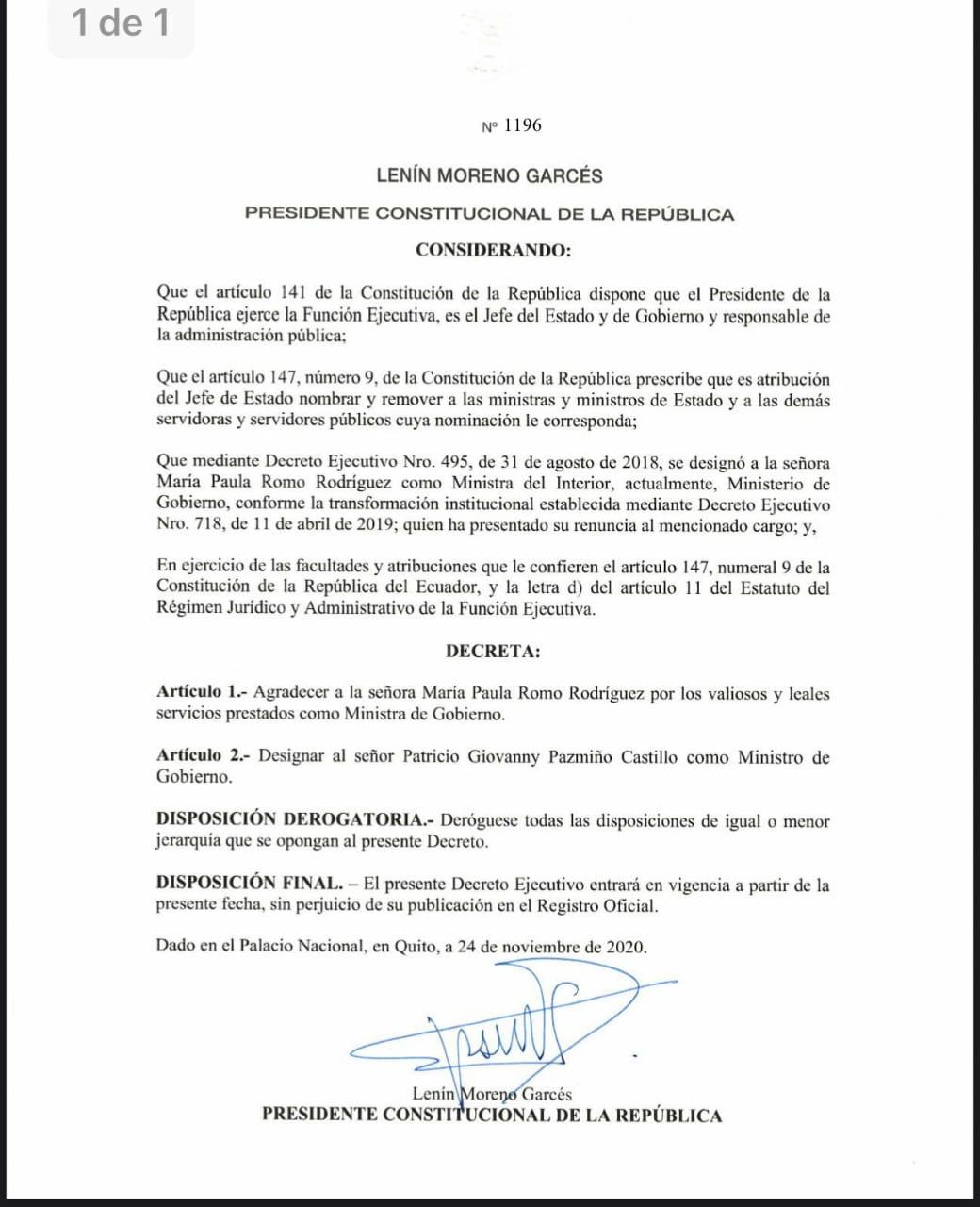Ecuador.- El Congreso de Ecuador cesa a la ministra de Gobierno por el uso de gases lacrimógenos caducados en 2019