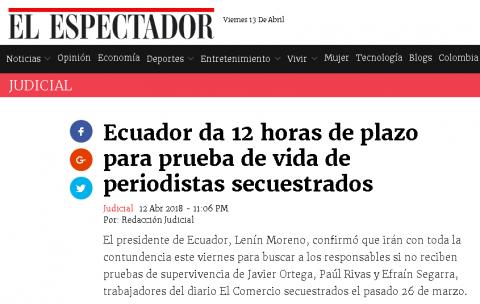 Medios internacionales lamentan el asesinato del equipo periodístico de EL COMERCIO