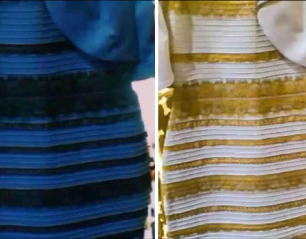 El vestido era blanco y dorado
