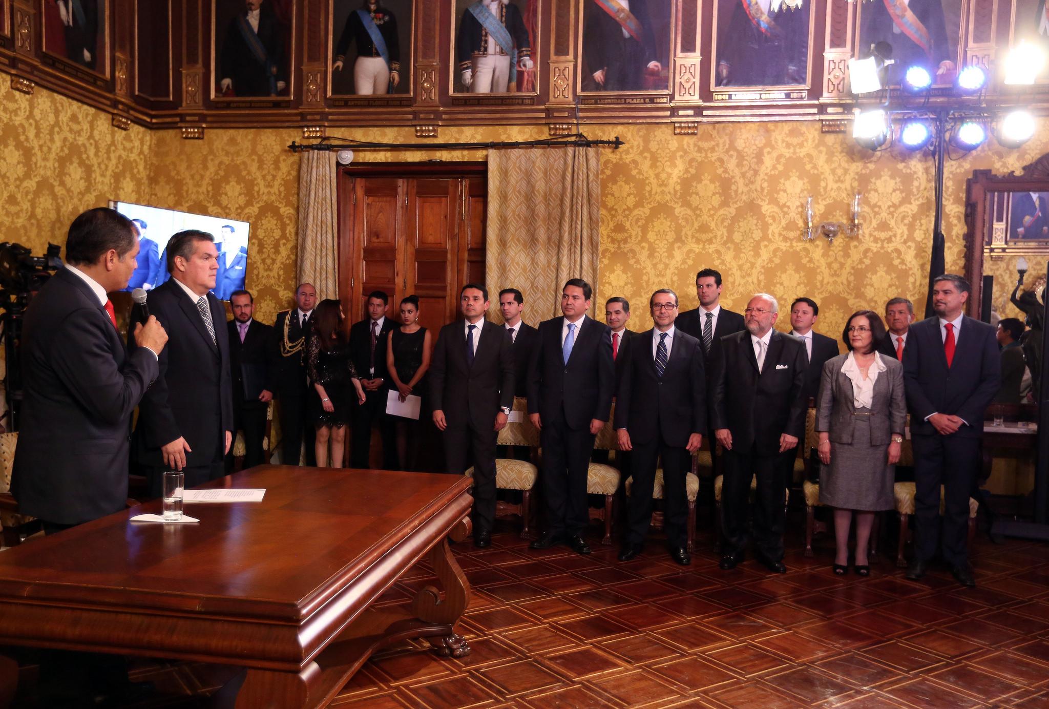 La ceremonia de posesión de los miembros del gabinete se realizó en el Palacio de Carondelet. Foto: Presidencia del Ecuador.