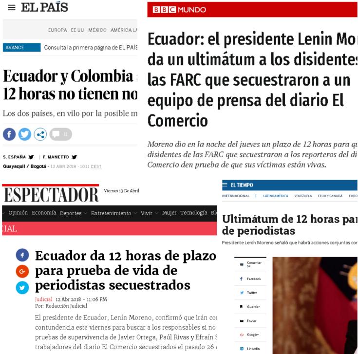 Presidente Moreno da plazo de 12 horas para conocer situación de periodistas secuestrados