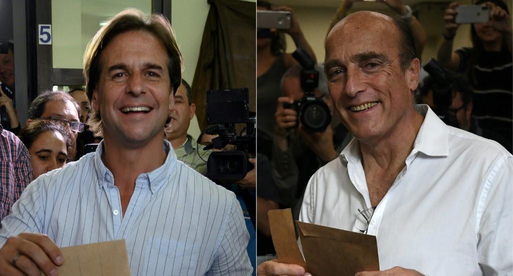 Luis Lacalle Pou y Daniel Martínez. Foto: AFP