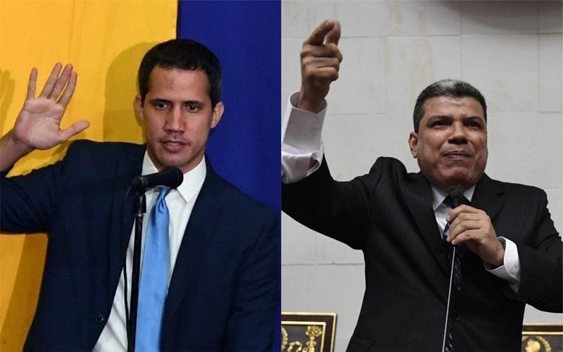 Juan Guaidó y Luis Parra. Fotos: AFP