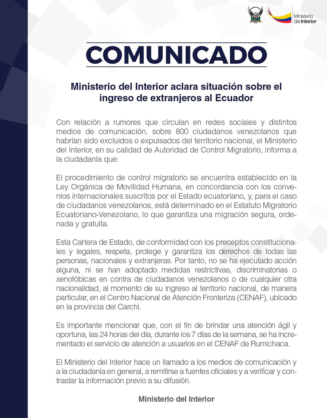 El Ministerio del Interior aclaró rumores de expulsión de ciudadanos venezolanos