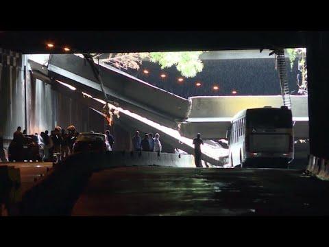 Cae parte de un túnel en Rio de Janeiro por lluvias