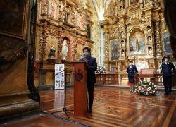 Jorge Yunda durante la ceremonia de entrega de las obras de remodelación de la Capilla de la Virgen del Pilar, hoy en Quito. Foto: EFE