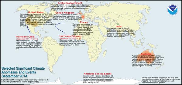 Los eventos climáticos que se han producido en septiembre. Foto: Twitter/NOAA
