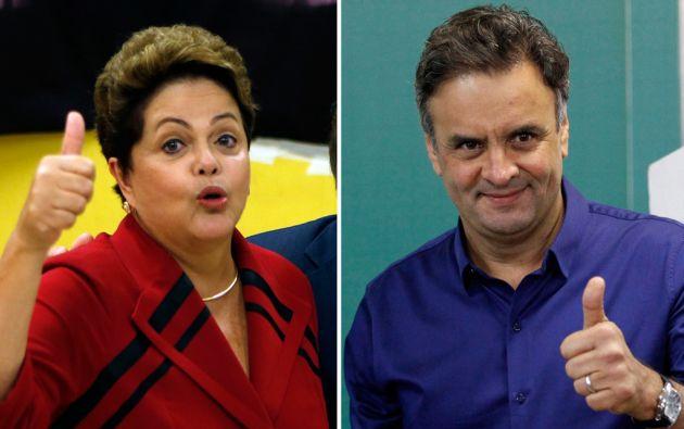 Segunda vuelta. Rousseff y Neves se enfrentarán nuevamente en las urnas el próximo domingo. Foto: REUTERS