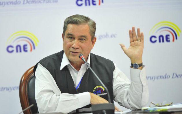 Domingo Paredes, titular del CNE. FOTO: Consejo Nacional Electoral de Ecuador