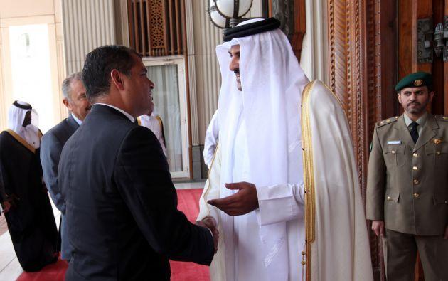 El presidente Correa y el emir Tamin bin Hamad al Zani. Foto: FLICKR/Presidencia de Ecuador