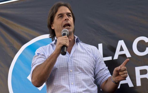 Luis Lacalle, del Partido Nacional. Foto: AFP