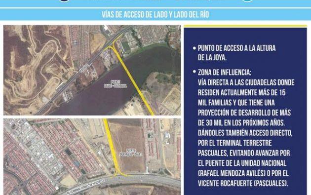 Puente de acceso a la altura de la urbanización La Joya. Foto: Twitter / Jaime Nebot