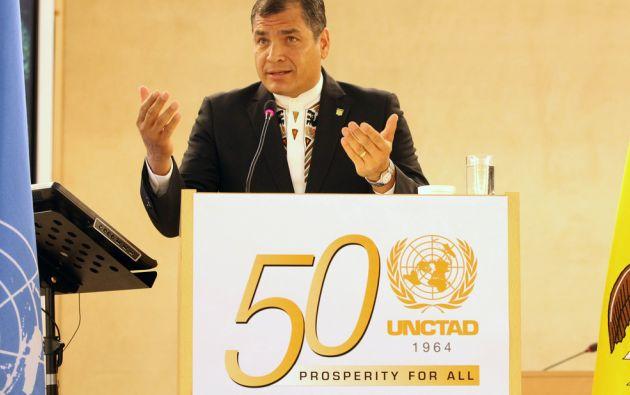 Correa fue el orador invitado de la decimoquinta edición de la Cátedra Raúl Prebisch. Foto: Flickr / Presidencia de Ecuador
