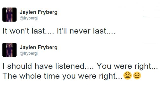 Los últimos mensajes de Jaylen Fryberg en su cuenta de Twitter.