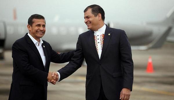 El presidente de Perú Ollanta Humala a su llegada a Arenillas. Foto: Twitter / Presidencia Ecuador