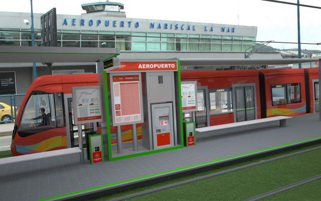Imagen similar de como será el tranvía y las estaciones. Foto: Municipio de Cuenca