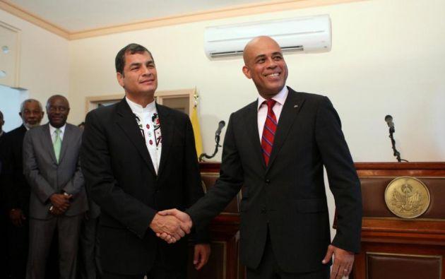 Correa y Martelly en una visita del presidente ecuatoriano a Haití, en septiembre de 2011. Foto: FLICKR/Presidencia de Ecuador