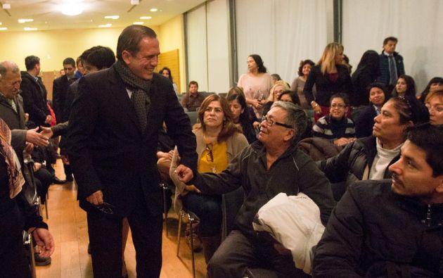 Patiño se reunió con la comunidad ecuatoriana. Foto: Flickr / Cancillería Ecuador