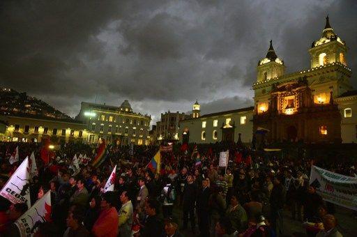 El último punto fue en la Plaza Grande. Foto: AFP