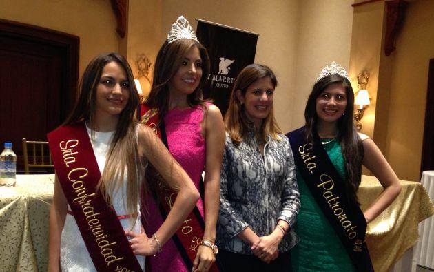 Las soberanas junto a María Fernanda Pacheco, presidenta de Patronato San José. Foto: Agencia Metropolitana de Noticias