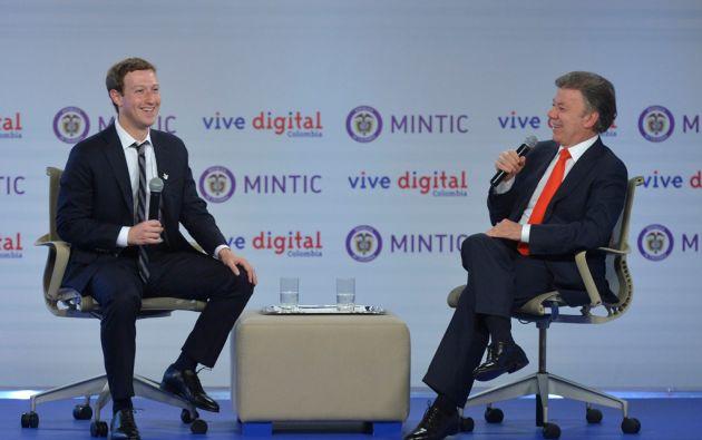 Mark Zuckerbeg, fundador de Facebook, y Juan Manuel Santos, presidente de Colombia. Foto: REUTERS