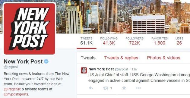 En Twitter se informó sobre un supuesto bombardeo de China a un buque de EE.UU.