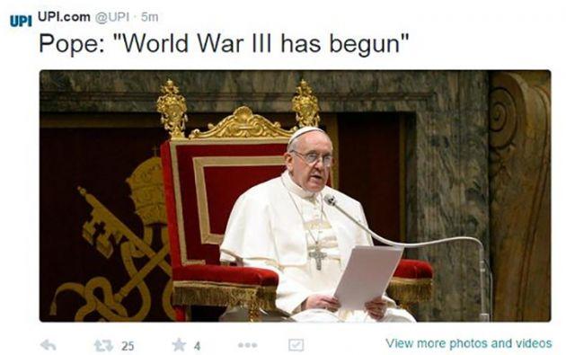 Se publicaron falsas declaraciones del papa Francisco sobre el comienzo de una III Guerra Mundial.