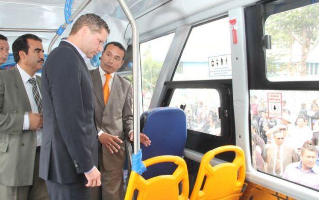 El alcalde Rodas con los transportistas. Foto: Quito Alcaldía