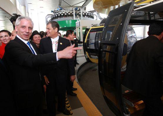 El vicepresidente Álvaro García Linera acompañó a Correa en el recorrido. Foto: FLICKR/Presidencia de Ecuador