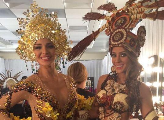Miss Venezuela y Miss Ecuador con los trajes típicos. Foto: Facebook /Miss Ecuador