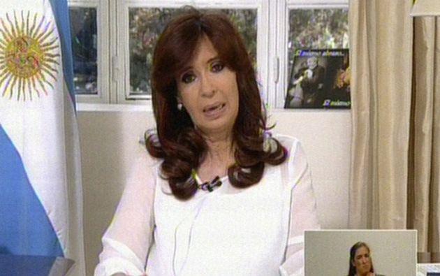 La presidenta argentina en una cadena nacional. Foto: AFP