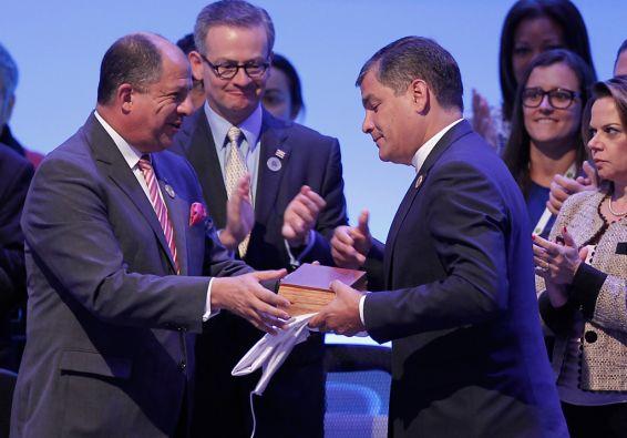 Costa Rica entregó a Ecuador la presidencia pro témpore del organismo. Foto: REUTERS/Juan Carlos Ulate