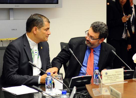 Correa se reunió con Humberto Sierra, presidente de la CorteIDH. Foto: FLICKR/Presidencia de Ecuador