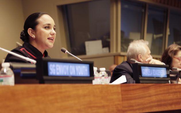 Rivadeneira durante su discurso en la ONU. Foto: Asamblea Nacional