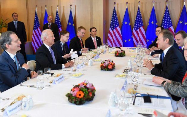 Biden reunido con algunas autoridades de la UE. Foto: AFP