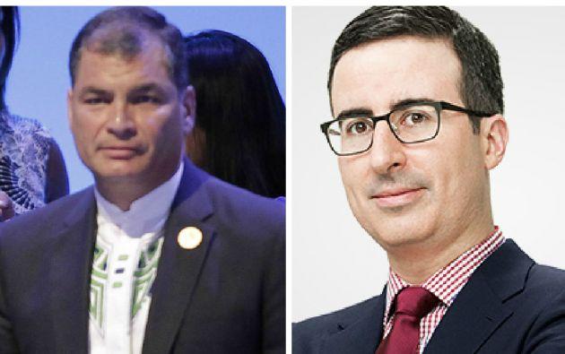 Rafael Correa (izquierda) y el comediante John Oliver. Fotos: REUTERS y Facebook.