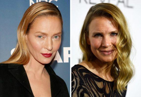 Uma Thurman y Renée Zelweger sorprendieron a la prensa de Hollywood con sus cambios de apariencia. Fotos: AFP