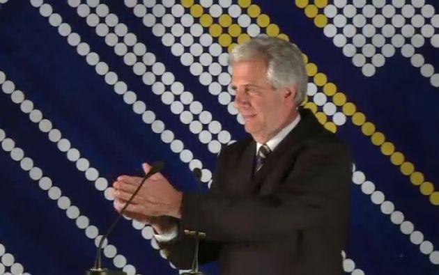 Tabaré Vásquez celebrando su victoria electoral el año pasado. Foto: Captura de video.