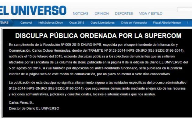 La disculpa, firmada por el director del diario, también aparece en el portal web de El Universo.