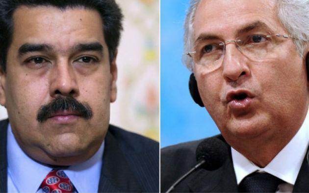 Nicolás Maduro y Antonio Ledezma. Foto: AFP