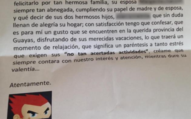 """La carta de amenaza fue publicada en la cuenta de Facebook de """"Crudo Ecuador""""."""