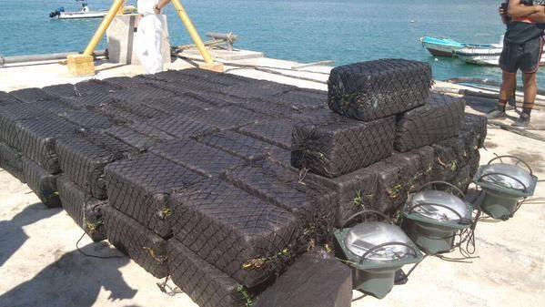 Droga encontrada en Galápagos. Foto: Policía Ecuador
