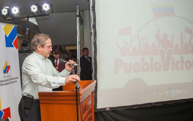 """Patiño aseguró que la crisis política que afronta actualmente ese país se presenta como """"un nuevo intento de golpe de Estado"""". Foto: Cancillería de Ecuador"""