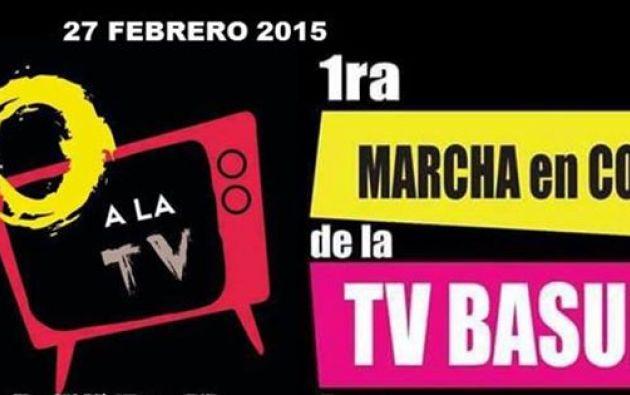 Convocatoria a la marcha. Foto: Facebook / Perú sin TV Basura