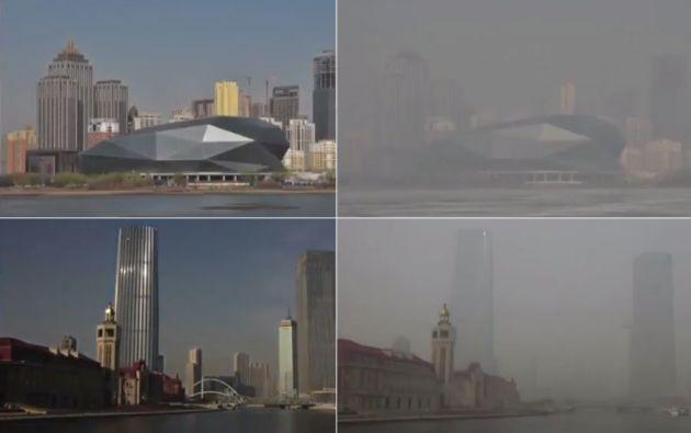 La obra muestra, a través de una serie de fotografías, los niveles de contaminación en las principales ciudades de China.