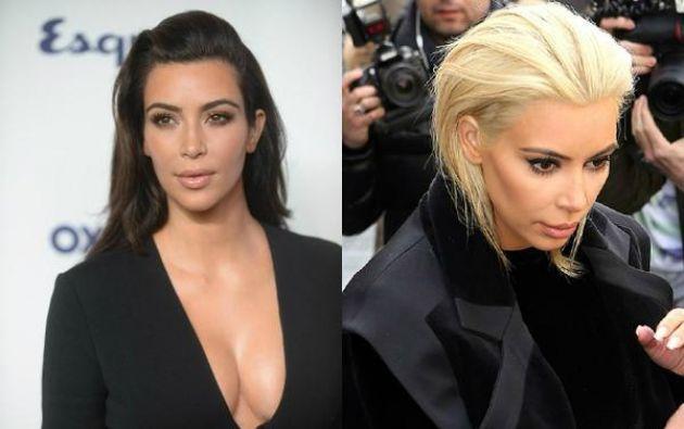 Kim Kardashian cortó su melena y se tiñó el cabello de rubia platinado.