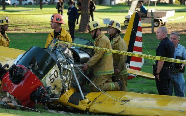 La avioneta se estrelló contra un árbol. Foto: AFP