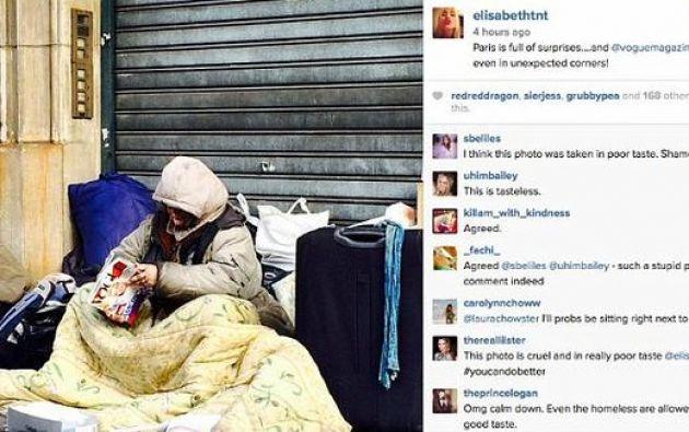 Captura de pantalla de la publicación de la redactora que luego fue eliminada de su cuenta de Instagram.