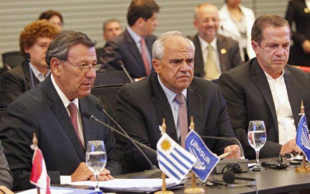 El texto firmado por los cancilleres fue leído por el representante de Uruguay, Rodolfo Nin Novoa. Foto: REUTERS