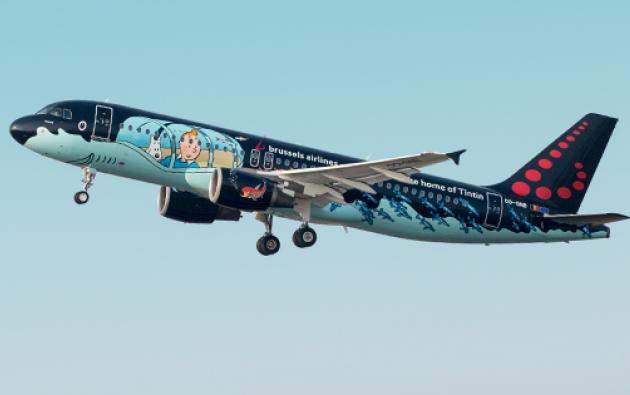 "La aeronave fue bautizada como ""Rackham"" en honor a la historieta ""Rackham el Rojo"". Foto: Facebook / Brussels Airlines."